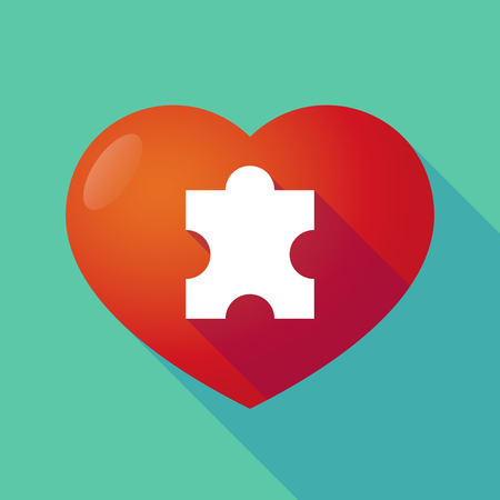 seduction: Illustration of a long shadow red heart with  a puzzle piece