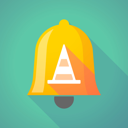 ring road: Illustration of a long shadow bell icon with a road cone