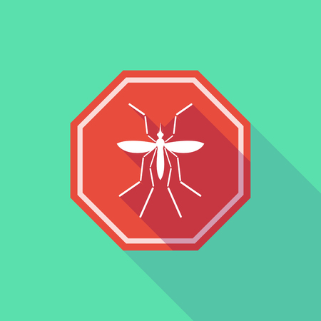 bearer: Illustration of a Zika virus bearer mosquito  in a long shadow stop signal