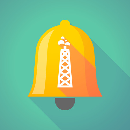 bell tower: Illustration of a long shadow bell icon with an oil tower Illustration