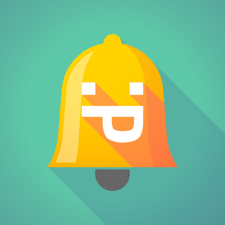 sticking out tongue: Ilustraci�n de un icono de campana larga sombra con una cara de texto lengua fuera