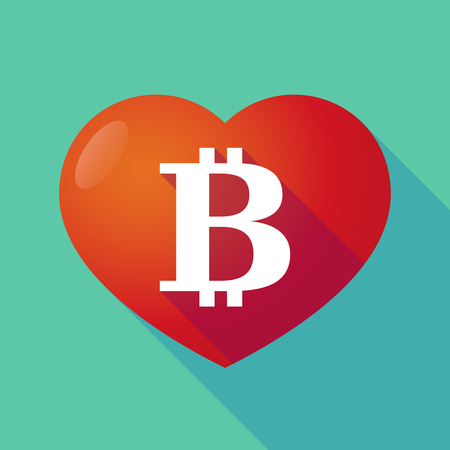 p2p: Illustration of a long shadow red heart with  a bit coin sign Illustration