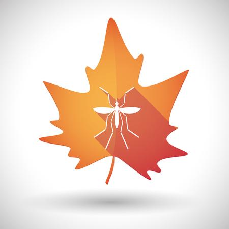 bearer: Illustration of a Zika virus bearer mosquito  in a orange leaf