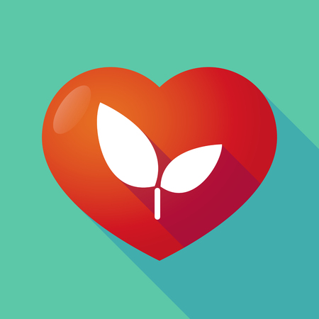 passion  ecology: Illustration of a long shadow red heart with  a plant Illustration