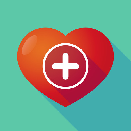 subtract: Illustration of a long shadow red heart with  a sum sign Illustration