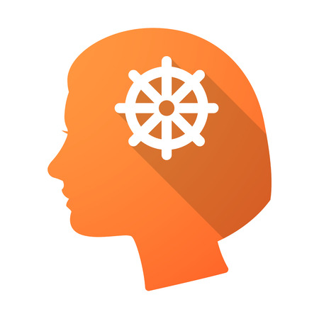 dharma: Illustration of a long shadow female head with a dharma chakra sign Illustration