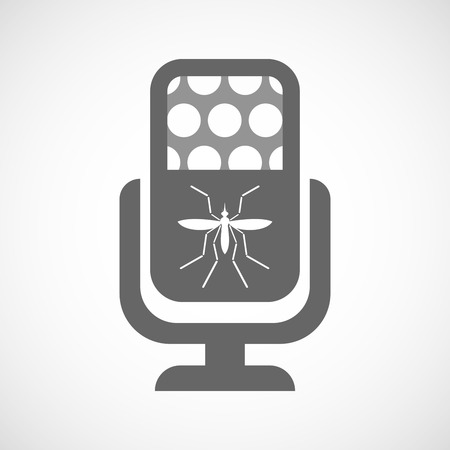 bearer: Illustration of a Zika virus bearer mosquito  in a microphone icon Illustration