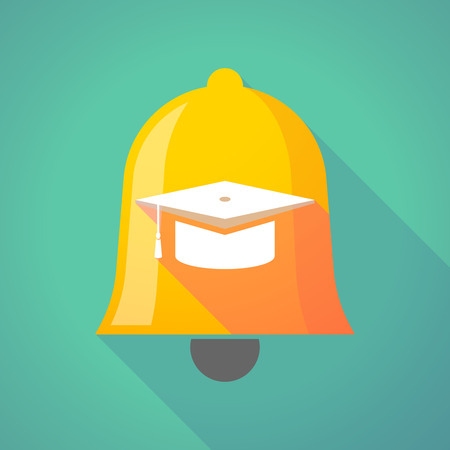 abstract academic: Illustration of a long shadow bell icon with a graduation cap