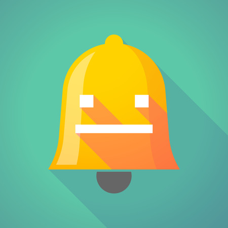 emotionless: Illustration of a long shadow bell icon with a emotionless text face Illustration