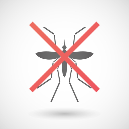 rejection: Illustration of a Zika virus bearer mosquito  under a rejection sign