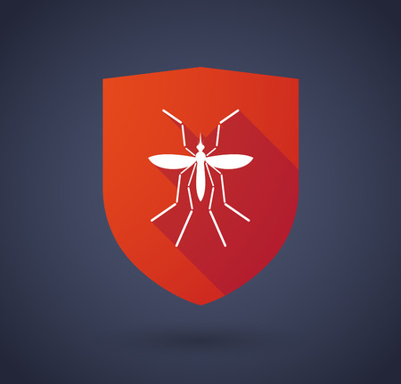 bearer: Illustration of a Zika virus bearer mosquito  in a long shadow shield icon
