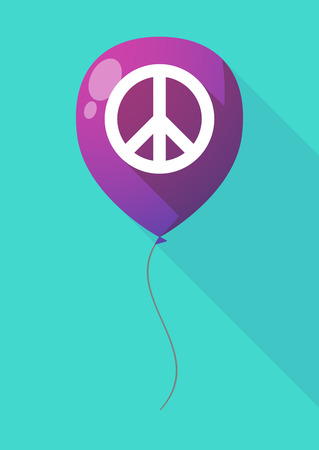 pacifist: Illustration of a long shadow balloon with a peace sign