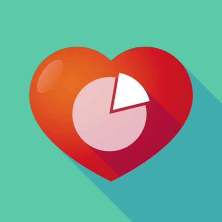 seduction: Illustration of a long shadow red heart with  a pie chart