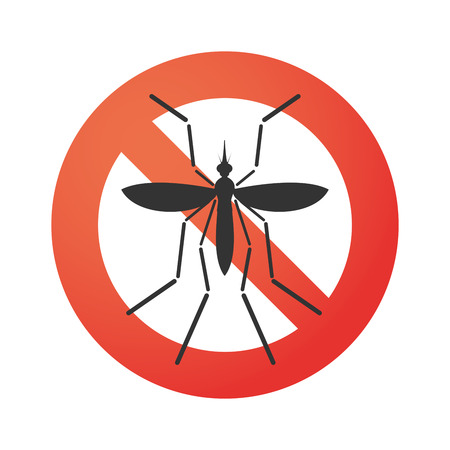 infected mosquito: Illustration of a Zika virus bearer mosquito  in a  forbidden signal Illustration