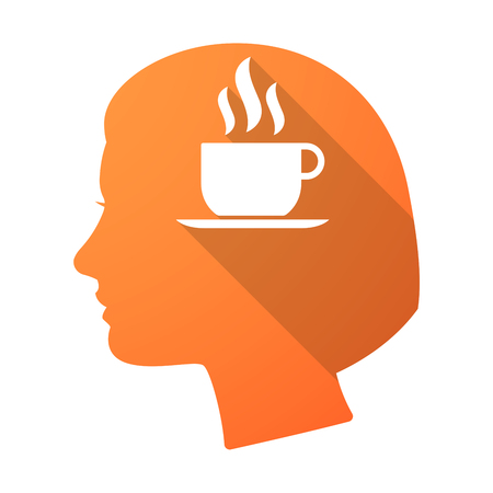 woman drinking milk: Illustration of a long shadow female head with a cup of coffee