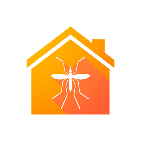 bearer: Illustration of a Zika virus bearer mosquito  in a house icon Illustration