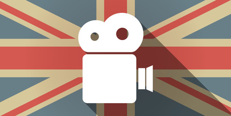 official record: Illustration of a long shadow UK flag icon with a film camera Illustration