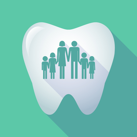 large family: Illustration of a long shadow tooth icon with a large family  pictogram
