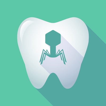 viral infection: Illustration of a long shadow tooth icon with a virus