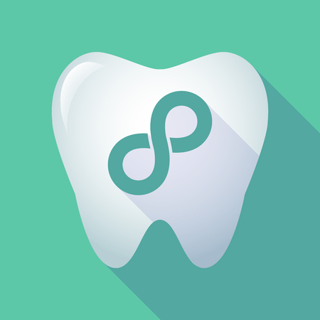 mobius loop: Illustration of a long shadow tooth icon with an infinite sign Illustration
