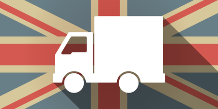 Illustration of a long shadow UK flag icon with a  delivery truck