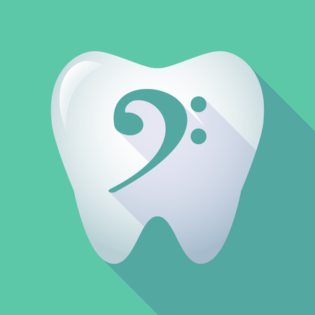 Illustration of a long shadow tooth icon with an F clef