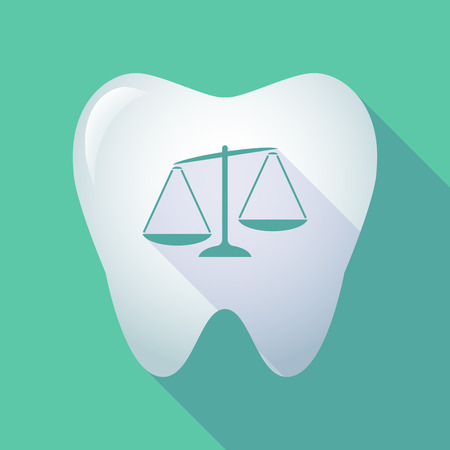Illustration of a long shadow tooth icon with  an unbalanced weight scale Illustration