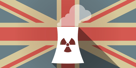 nuclear power station: Illustration of a long shadow UK flag icon with a nuclear power station