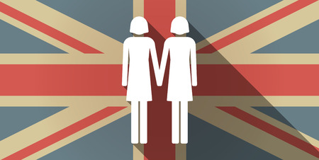 homosexual sex: Illustration of a long shadow UK flag icon with a lesbian couple pictogram