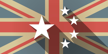 five stars: Illustration of a long shadow UK flag icon with  the five stars china flag symbol