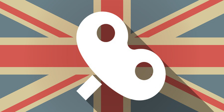 crank: Illustration of a long shadow UK flag icon with a toy crank Illustration