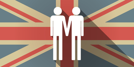 gay couple: Illustration of a long shadow UK flag icon with a gay couple pictogram