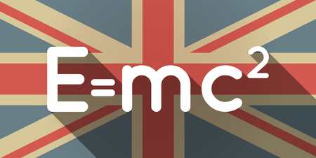 relativity: Illustration of a long shadow UK flag icon with the Theory of Relativity formula