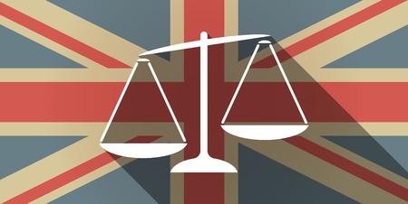 inequality: Illustration of a long shadow UK flag icon with  an unbalanced weight scale