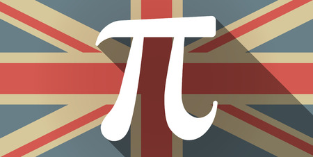 constant: Illustration of a long shadow UK flag icon with the number pi symbol