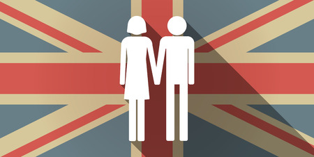 heterosexual: Illustration of a long shadow UK flag icon with a heterosexual couple pictogram