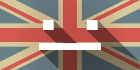 emotionless: Illustration of a long shadow UK flag icon with a emotionless text face Illustration