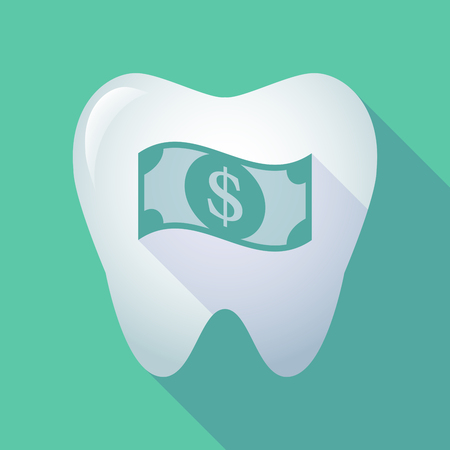 health care funding: Illustration of a long shadow tooth icon with a dollar bank note Illustration