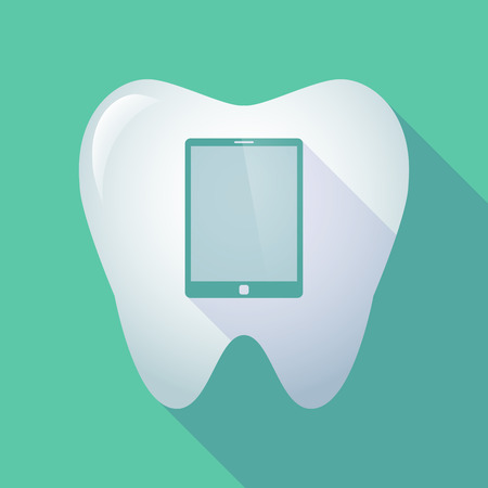 mouth screen: Illustration of a long shadow tooth icon with a tablet computer Illustration