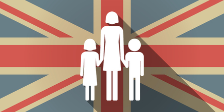 single parent family: Illustration of a long shadow UK flag icon with a female single parent family pictogram
