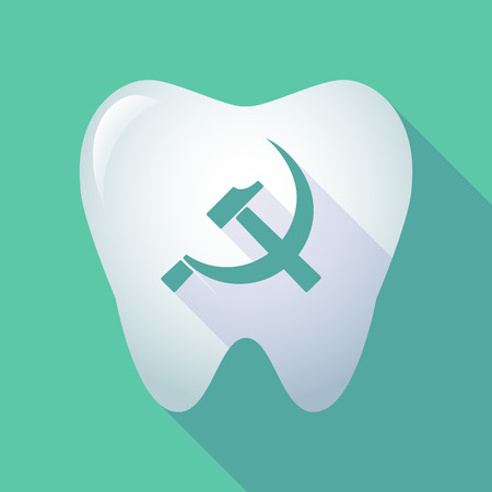 socialism: Illustration of a long shadow tooth icon with  the communist symbol