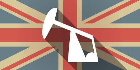 horsehead pump: Illustration of a long shadow UK flag icon with a horsehead pump