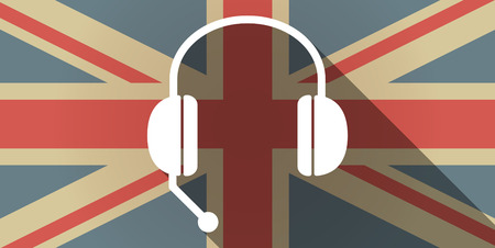 hands free device: Illustration of a long shadow UK flag icon with  a hands free phone device