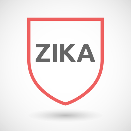 medieval medicine: Vector illustration of the word Zika   in a line art shield icon