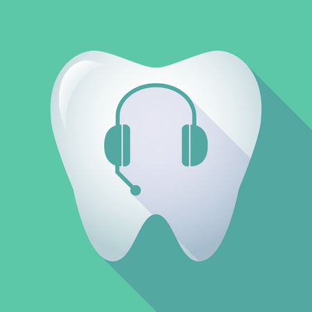 comunicacion oral: Ilustraci�n de un icono de diente largo sombra con un dispositivo de manos libres del tel�fono Vectores
