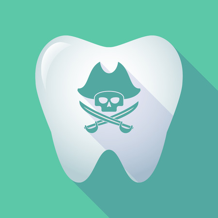 Illustration of a long shadow tooth icon with a pirate skull