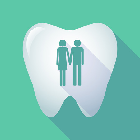 heterosexual: Illustration of a long shadow tooth icon with a heterosexual couple pictogram Illustration