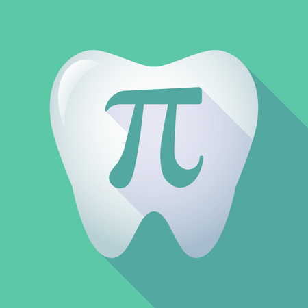 pi: Illustration of a long shadow tooth icon with the number pi symbol