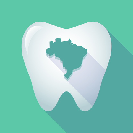 Illustration of a long shadow tooth icon with a map of Brazil