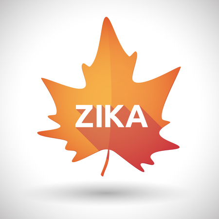 fever plant: Vector illustration of the word Zika   in a orange leaf